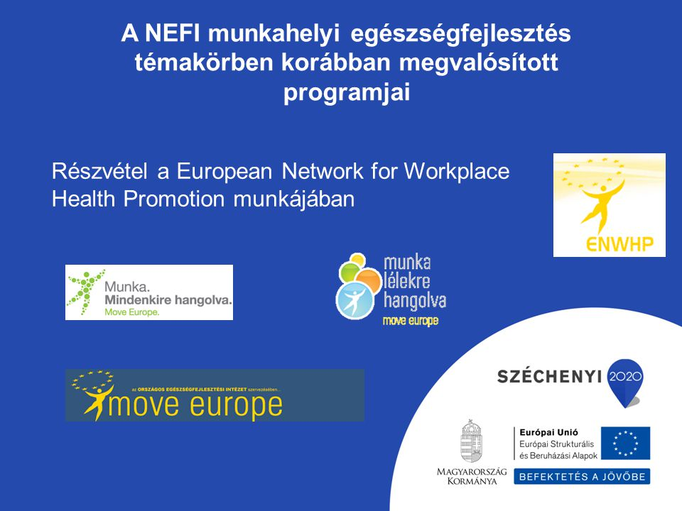 A NEFI munkahelyi egészségfejlesztés témakörben korábban megvalósított programjai