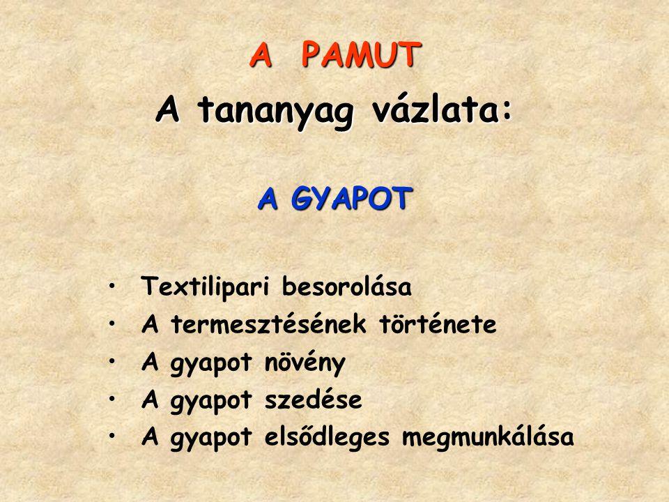 A tananyag vázlata: A PAMUT A GYAPOT Textilipari besorolása