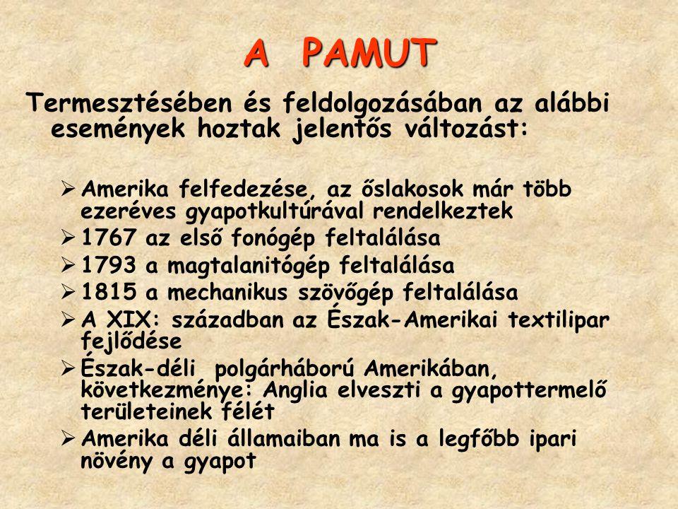 A PAMUT Termesztésében és feldolgozásában az alábbi események hoztak jelentős változást:
