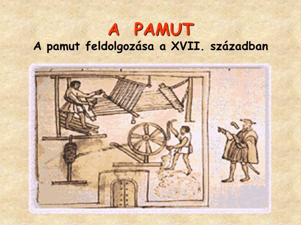 A PAMUT A pamut feldolgozása a XVII. században