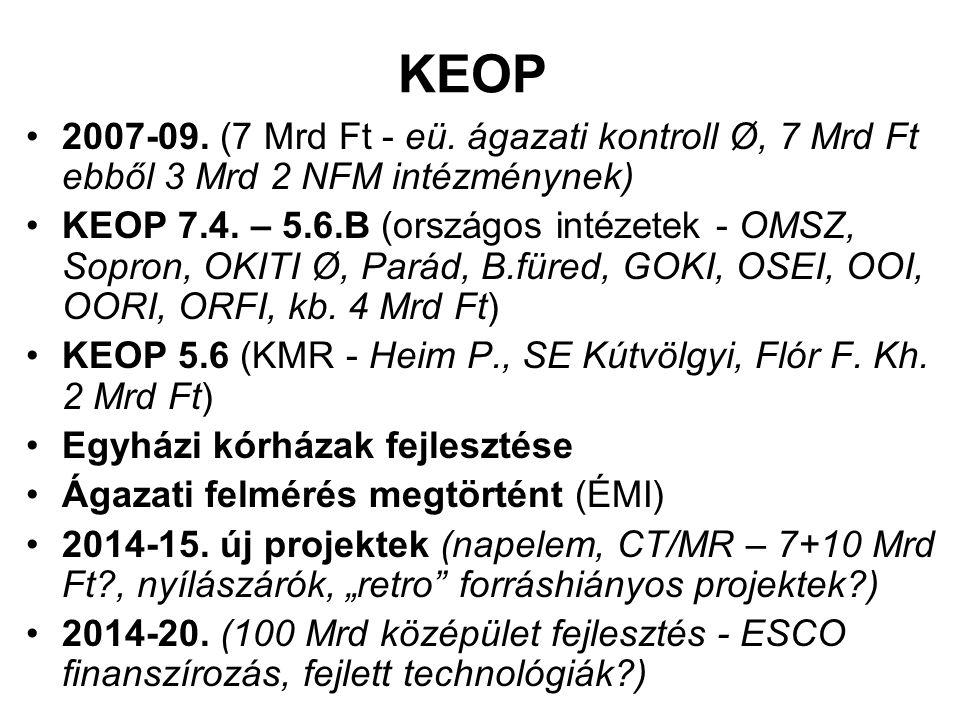 KEOP 2007-09. (7 Mrd Ft - eü. ágazati kontroll Ø, 7 Mrd Ft ebből 3 Mrd 2 NFM intézménynek)