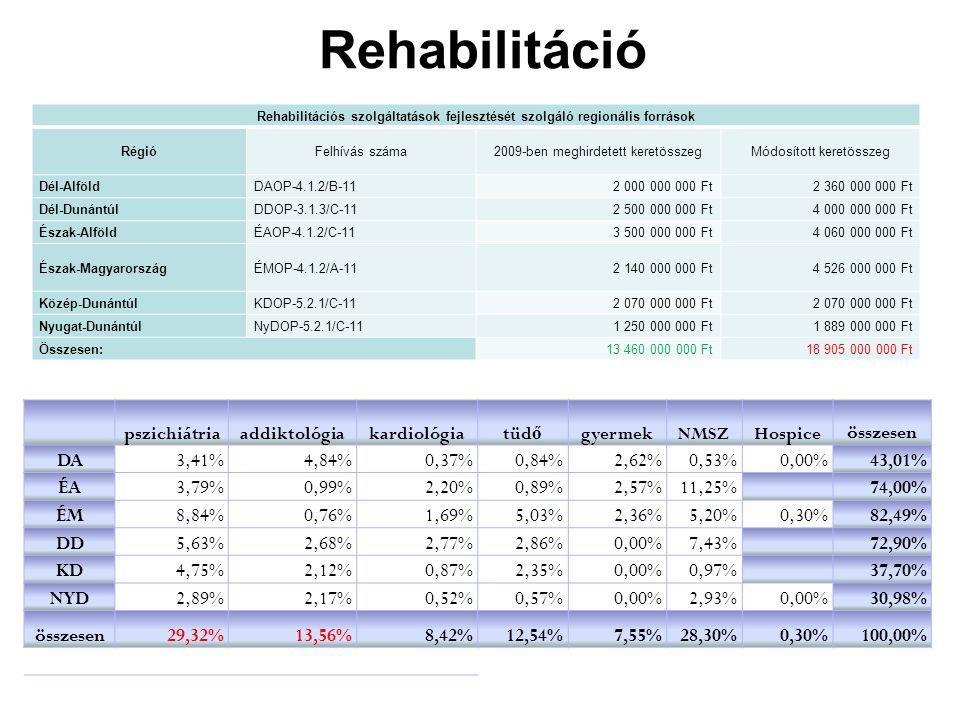 Rehabilitáció összesen DA 3,41% 4,84% 0,37% 0,84% 2,62% 0,53% 0,00%