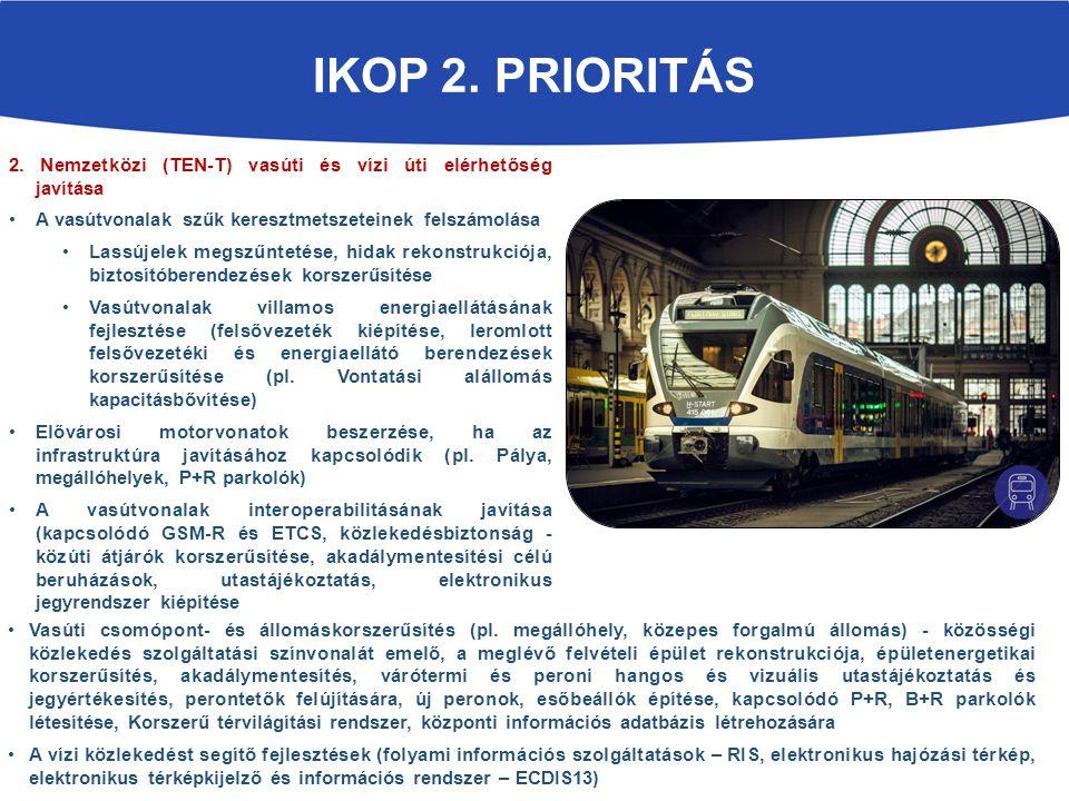 IKOP 2. prioritás 2. Nemzetközi (TEN-T) vasúti és vízi úti elérhetőség javítása. A vasútvonalak szűk keresztmetszeteinek felszámolása.