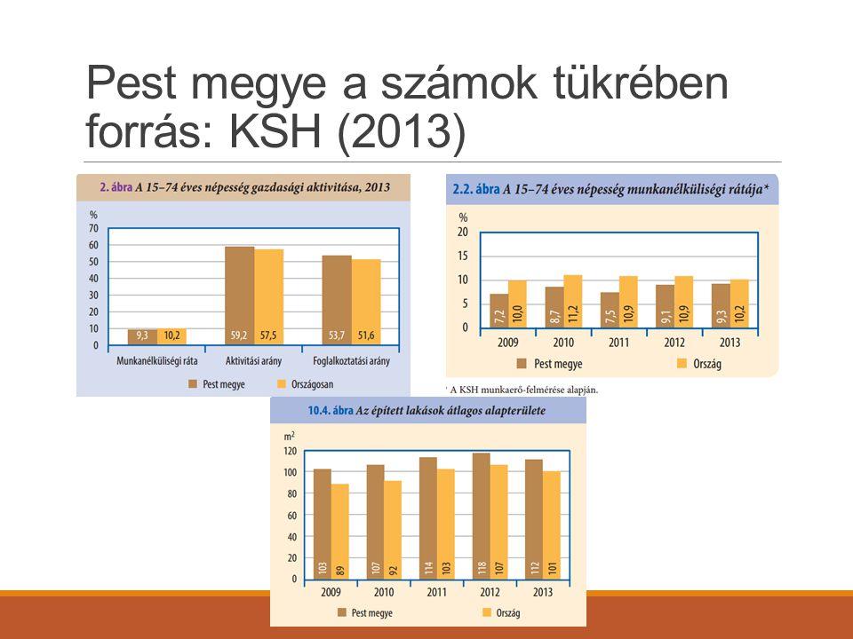 Pest megye a számok tükrében forrás: KSH (2013)