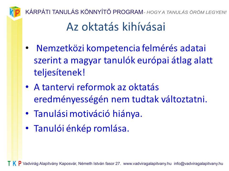 Az oktatás kihívásai Nemzetközi kompetencia felmérés adatai szerint a magyar tanulók európai átlag alatt teljesítenek!