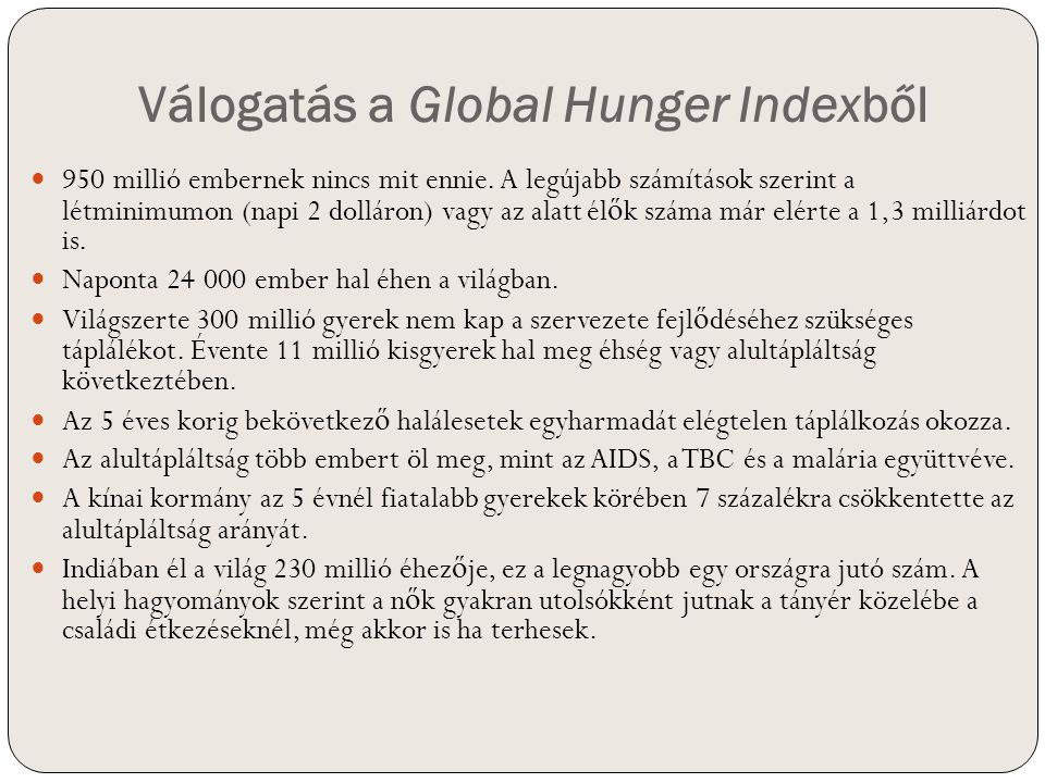 Válogatás a Global Hunger Indexből