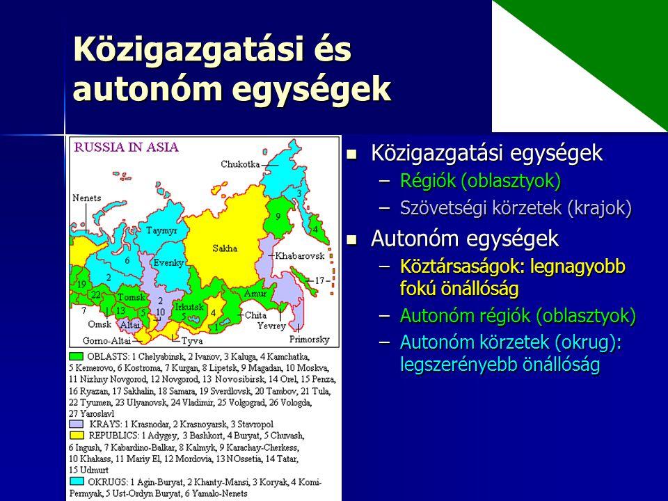 Közigazgatási és autonóm egységek