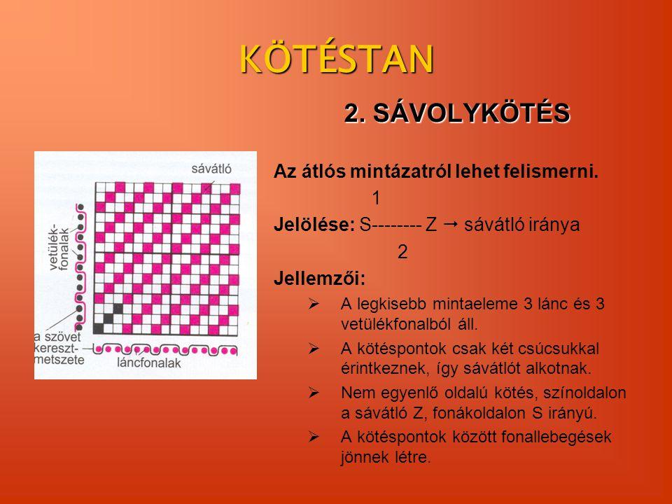 KÖTÉSTAN 2. SÁVOLYKÖTÉS Az átlós mintázatról lehet felismerni. 1