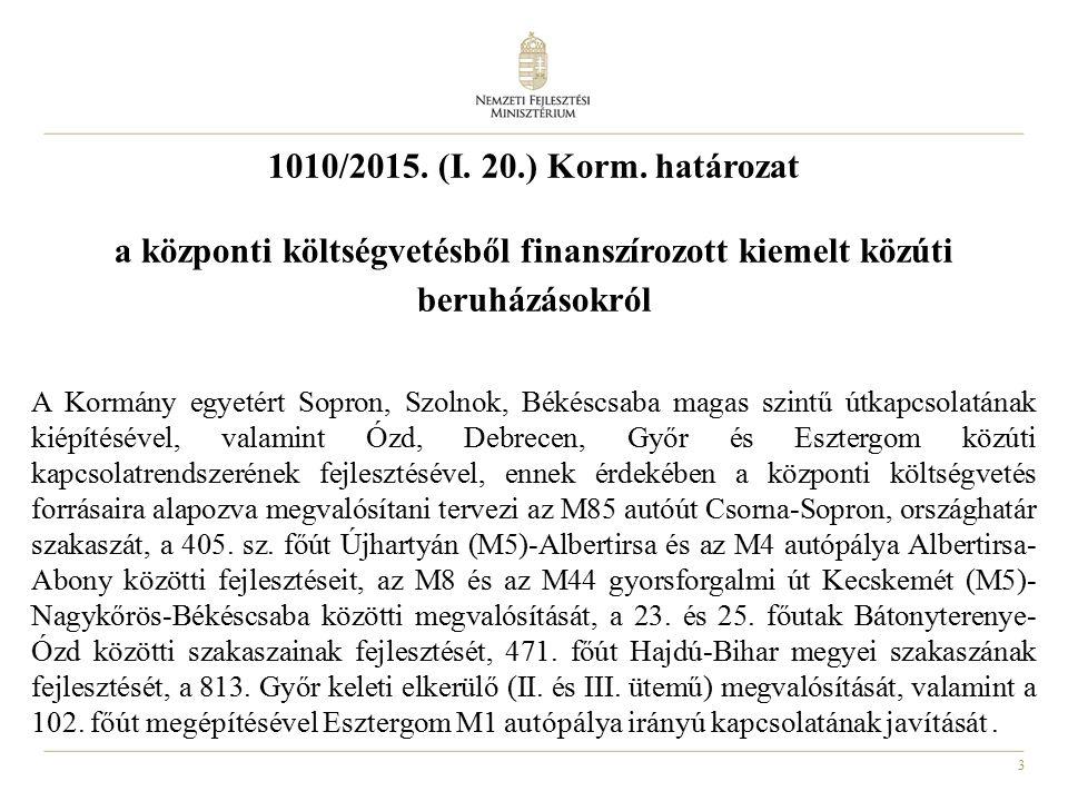 1010/2015. (I. 20.) Korm. határozat a központi költségvetésből finanszírozott kiemelt közúti beruházásokról