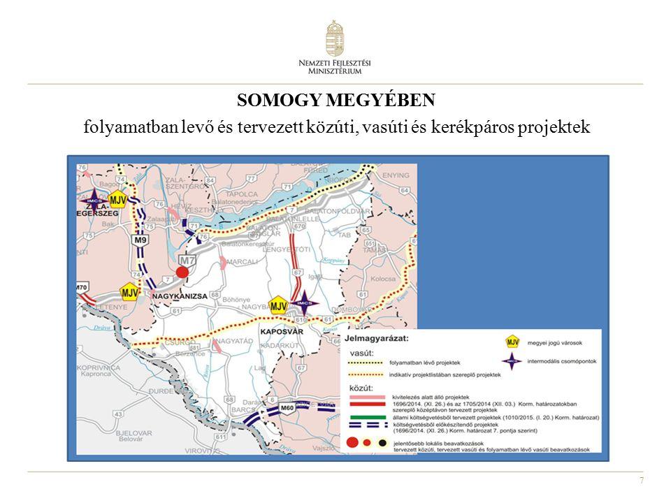 SOMOGY MEGYÉBEN folyamatban levő és tervezett közúti, vasúti és kerékpáros projektek