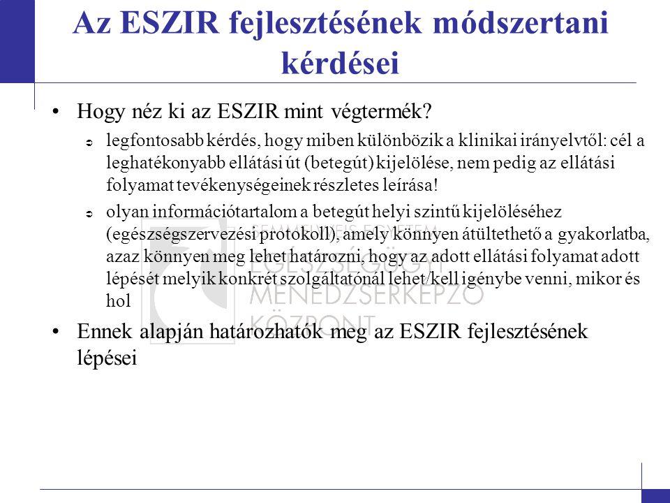 Az ESZIR fejlesztésének módszertani kérdései
