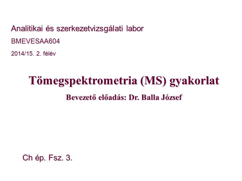 Tömegspektrometria (MS) gyakorlat Bevezető előadás: Dr. Balla József