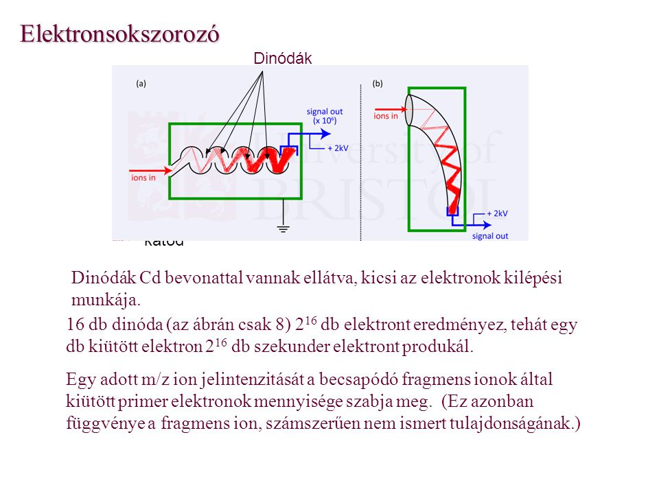 Elektronsokszorozó Dinódák. katód. Dinódák Cd bevonattal vannak ellátva, kicsi az elektronok kilépési munkája.