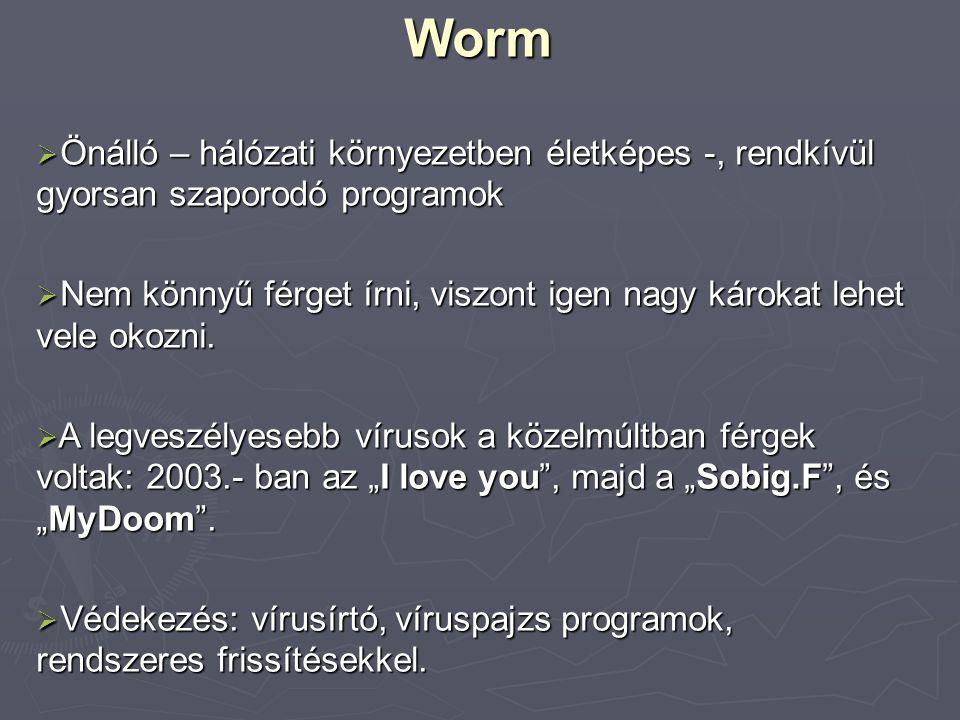 Worm Önálló – hálózati környezetben életképes -, rendkívül gyorsan szaporodó programok.