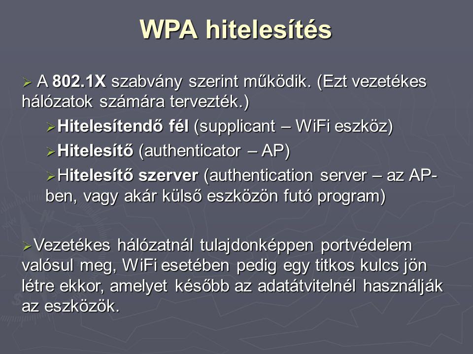 WPA hitelesítés A 802.1X szabvány szerint működik. (Ezt vezetékes hálózatok számára tervezték.) Hitelesítendő fél (supplicant – WiFi eszköz)