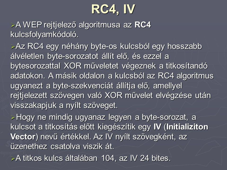 RC4, IV A WEP rejtjelező algoritmusa az RC4 kulcsfolyamkódoló.