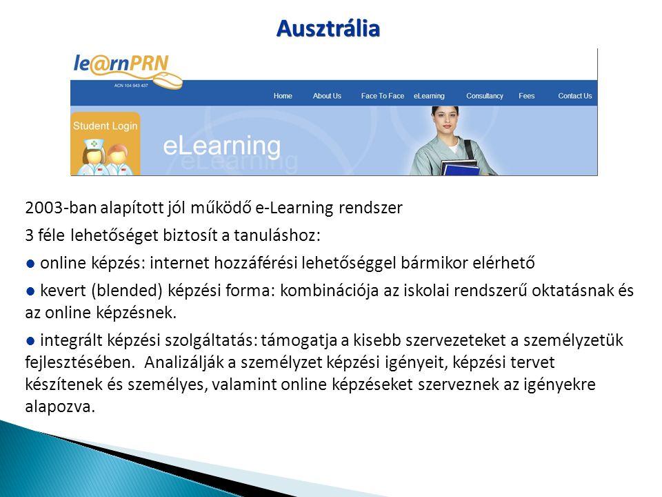 Ausztrália 2003-ban alapított jól működő e-Learning rendszer