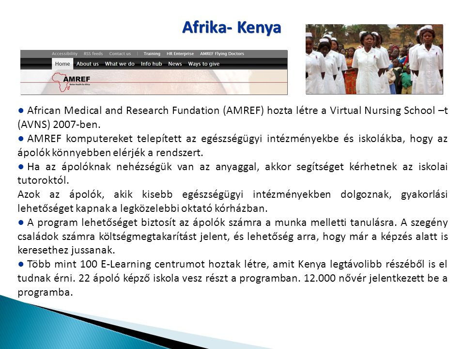 Afrika- Kenya African Medical and Research Fundation (AMREF) hozta létre a Virtual Nursing School –t (AVNS) 2007-ben.