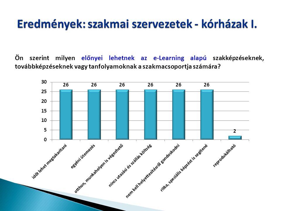 Eredmények: szakmai szervezetek - kórházak I.