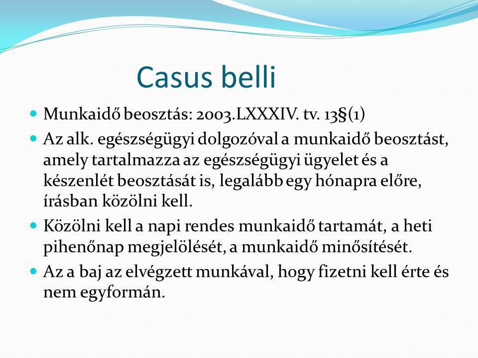 Casus belli Munkaidő beosztás: 2003.LXXXIV. tv. 13§(1)