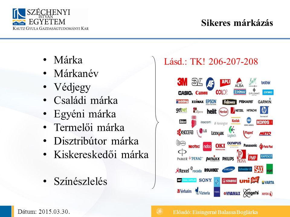 Márka Márkanév Védjegy Családi márka Egyéni márka Termelői márka