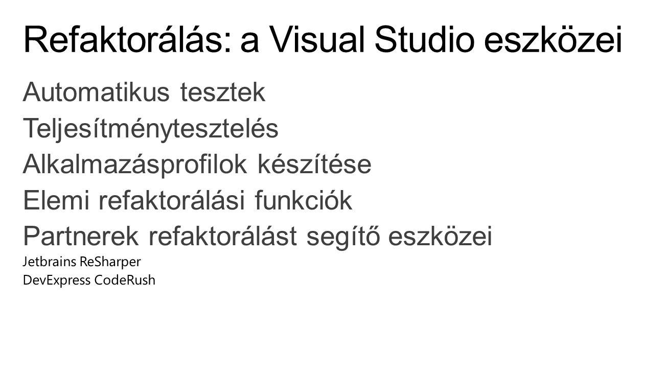 Refaktorálás: a Visual Studio eszközei
