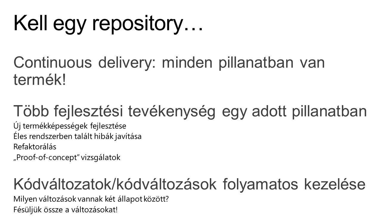 Kell egy repository… Continuous delivery: minden pillanatban van termék! Több fejlesztési tevékenység egy adott pillanatban.