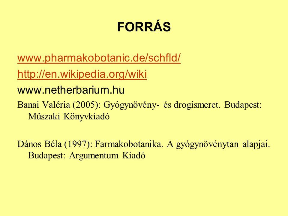 FORRÁS www.pharmakobotanic.de/schfld/ http://en.wikipedia.org/wiki