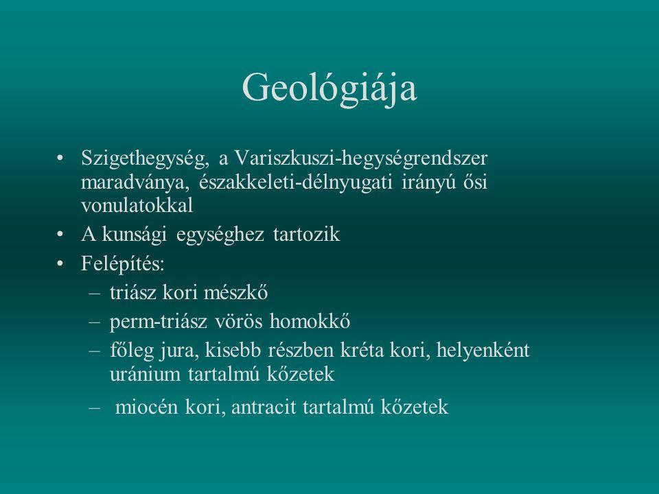 Geológiája Szigethegység, a Variszkuszi-hegységrendszer maradványa, északkeleti-délnyugati irányú ősi vonulatokkal.