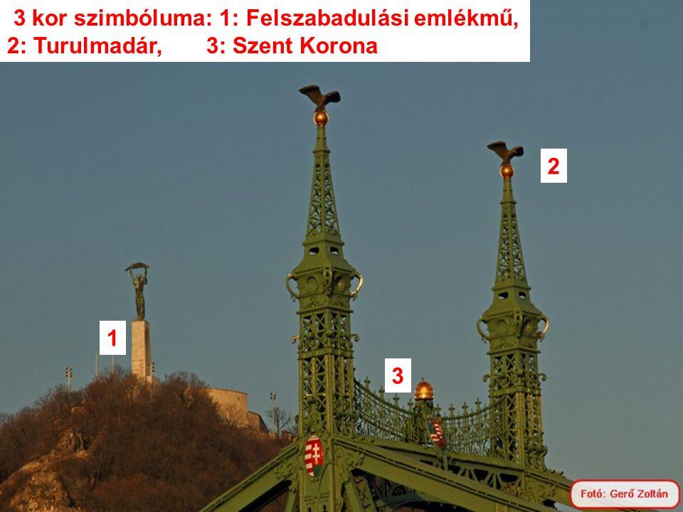 3 kor szimbóluma: 1: Felszabadulási emlékmű, 2: Turulmadár, 3: Szent Korona