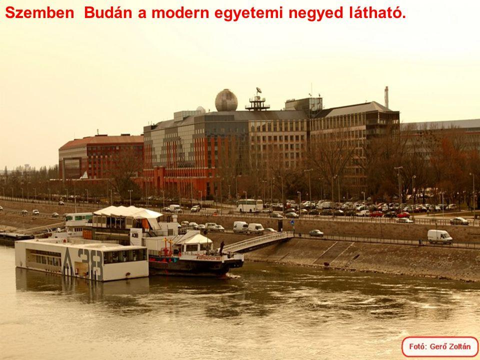 Szemben Budán a modern egyetemi negyed látható.