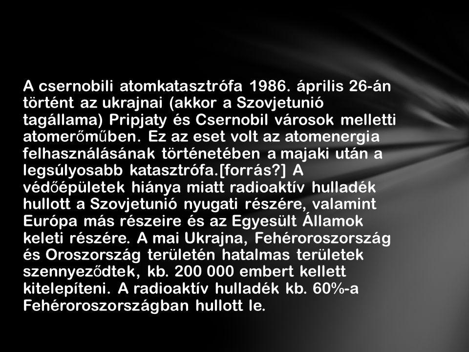 A csernobili atomkatasztrófa 1986
