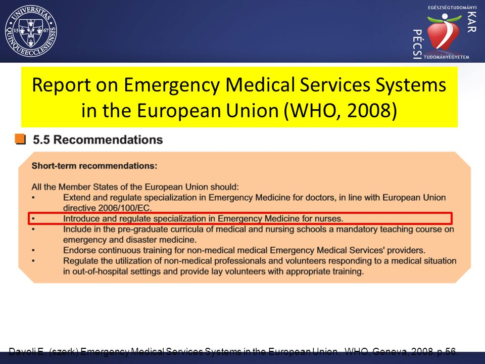 Report on Emergency Medical Services Systems in the European Union (WHO, 2008)