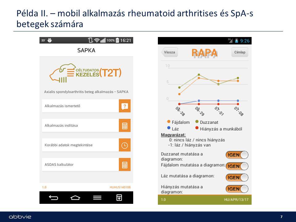 Példa II. – mobil alkalmazás rheumatoid arthritises és SpA-s betegek számára