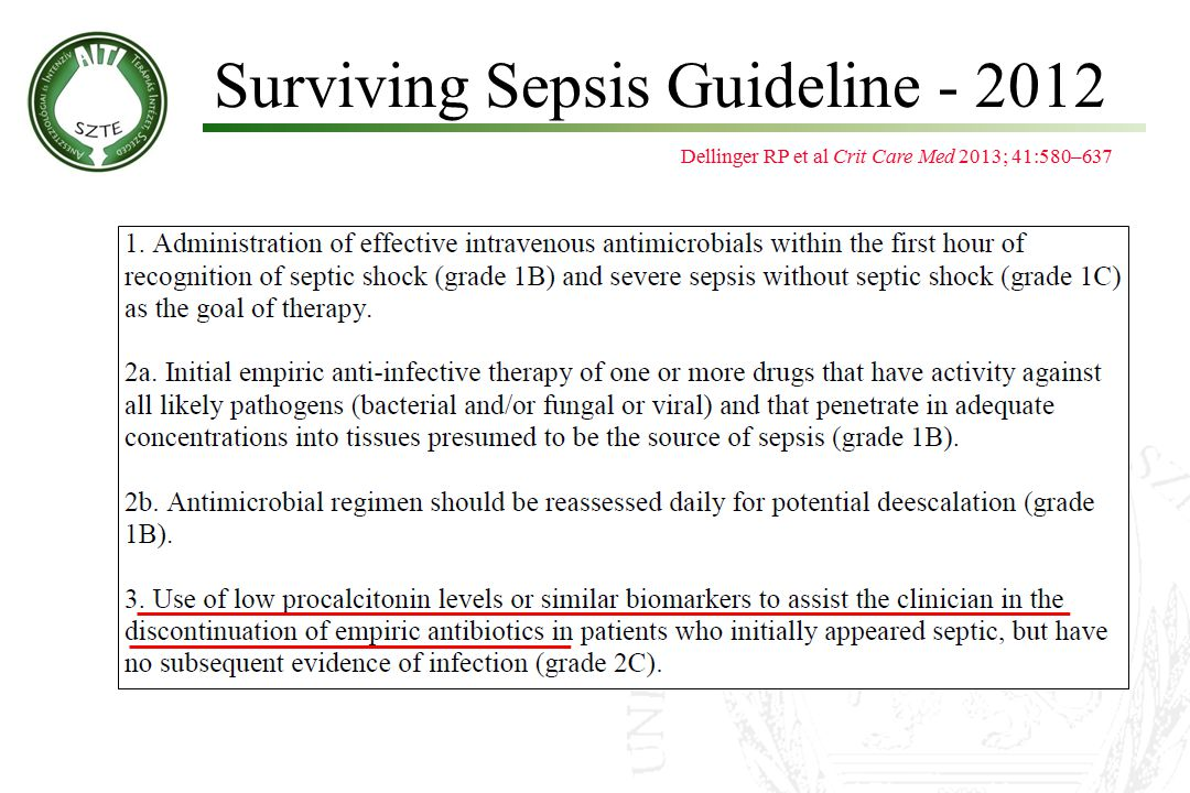 Surviving Sepsis Guideline - 2012