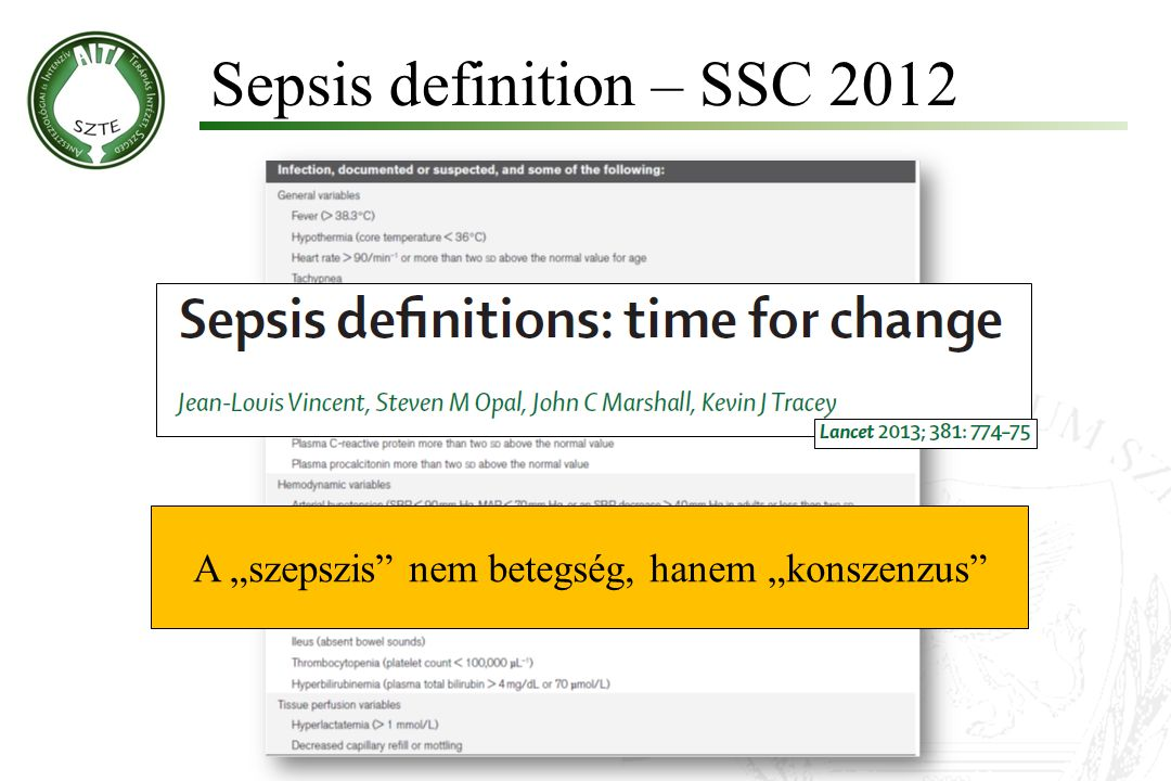 Sepsis definition – SSC 2012