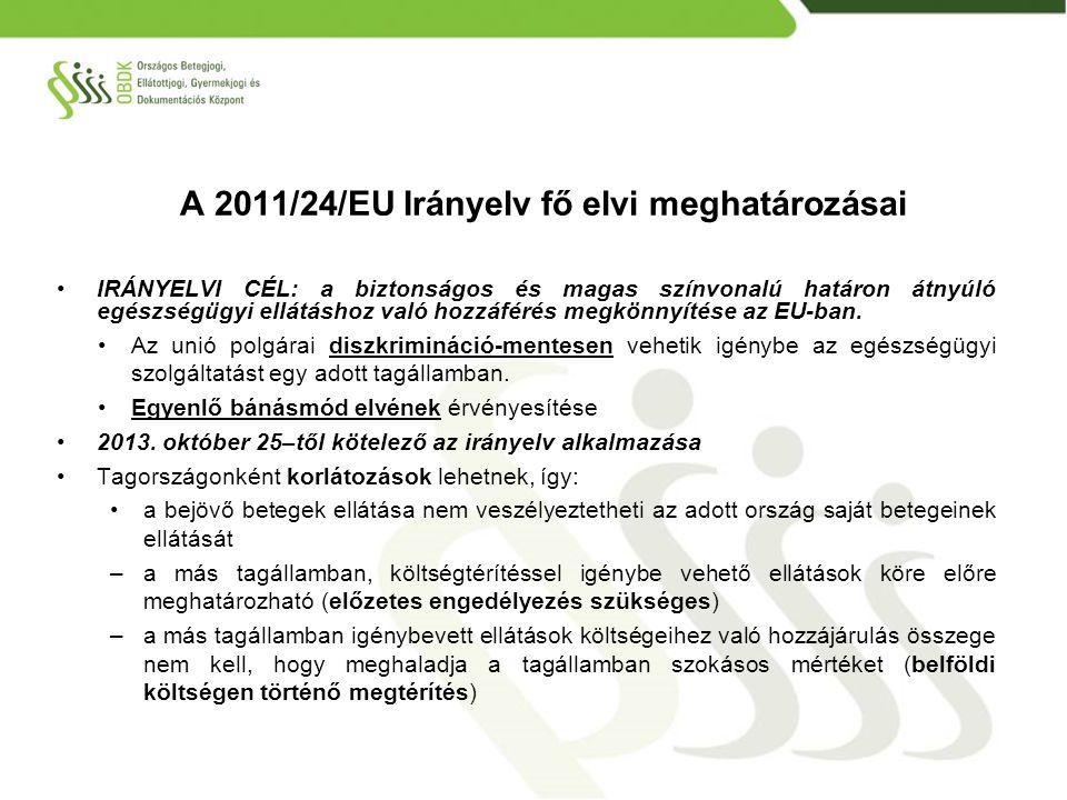 A 2011/24/EU Irányelv fő elvi meghatározásai