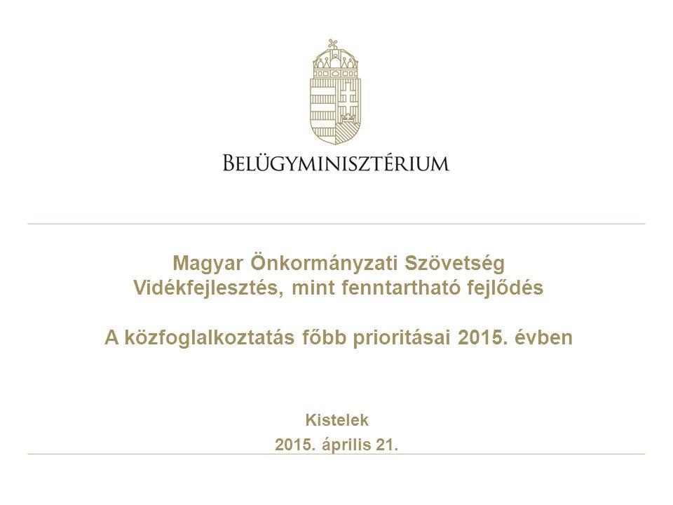 Magyar Önkormányzati Szövetség Vidékfejlesztés, mint fenntartható fejlődés A közfoglalkoztatás főbb prioritásai 2015. évben