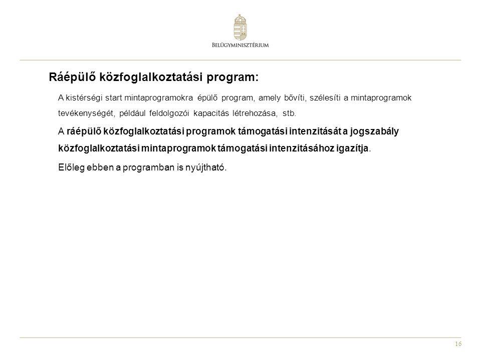 Ráépülő közfoglalkoztatási program: