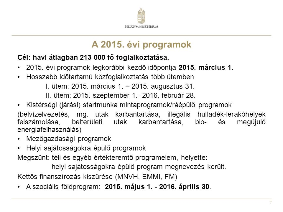 A 2015. évi programok Cél: havi átlagban 213 000 fő foglalkoztatása.