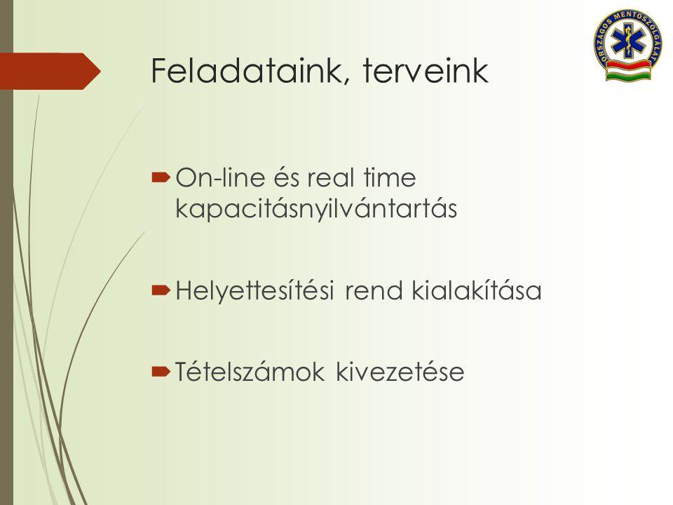 Feladataink, terveink On-line és real time kapacitásnyilvántartás