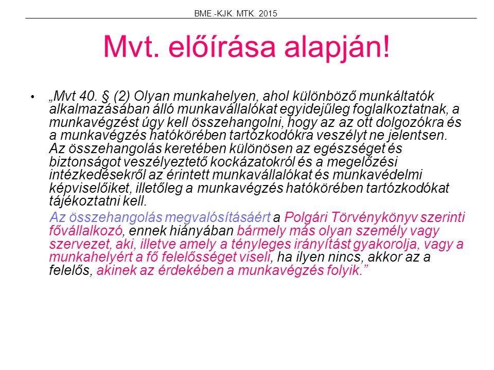 BME.-KJK. MTK. 2015 Mvt. előírása alapján!