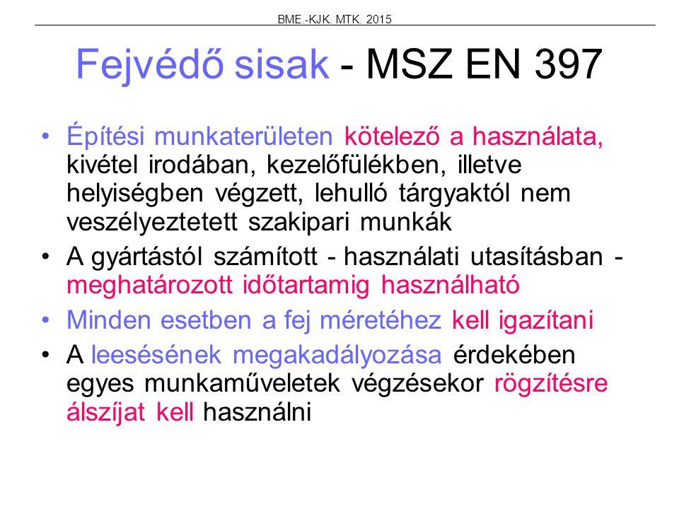 BME.-KJK. MTK. 2015 Fejvédő sisak - MSZ EN 397.
