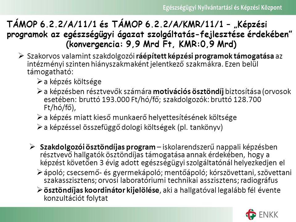 """TÁMOP 6.2.2/A/11/1 és TÁMOP 6.2.2/A/KMR/11/1 – """"Képzési programok az egészségügyi ágazat szolgáltatás-fejlesztése érdekében (konvergencia: 9,9 Mrd Ft, KMR:0,9 Mrd)"""