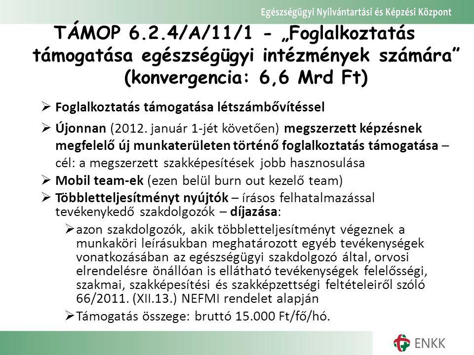 """TÁMOP 6.2.4/A/11/1 - """"Foglalkoztatás támogatása egészségügyi intézmények számára (konvergencia: 6,6 Mrd Ft)"""