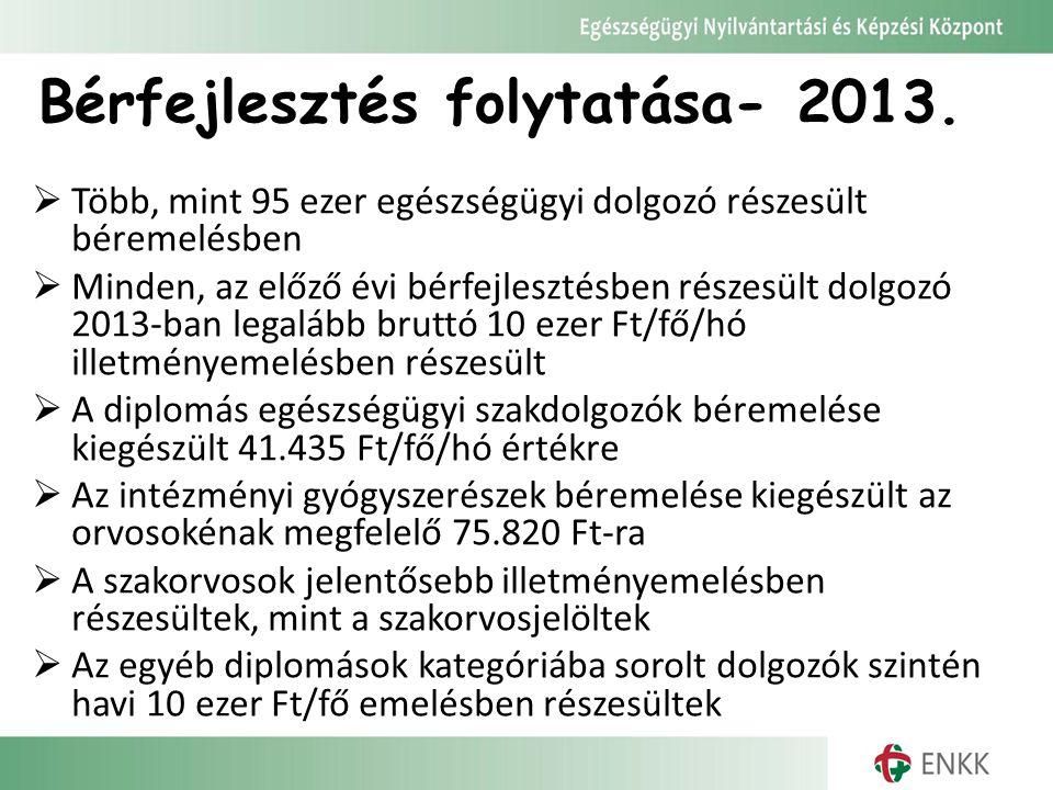 Bérfejlesztés folytatása- 2013.