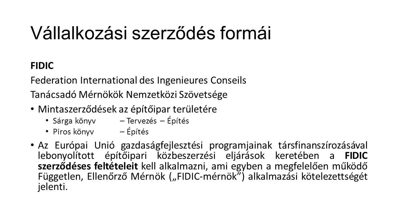 Vállalkozási szerződés formái