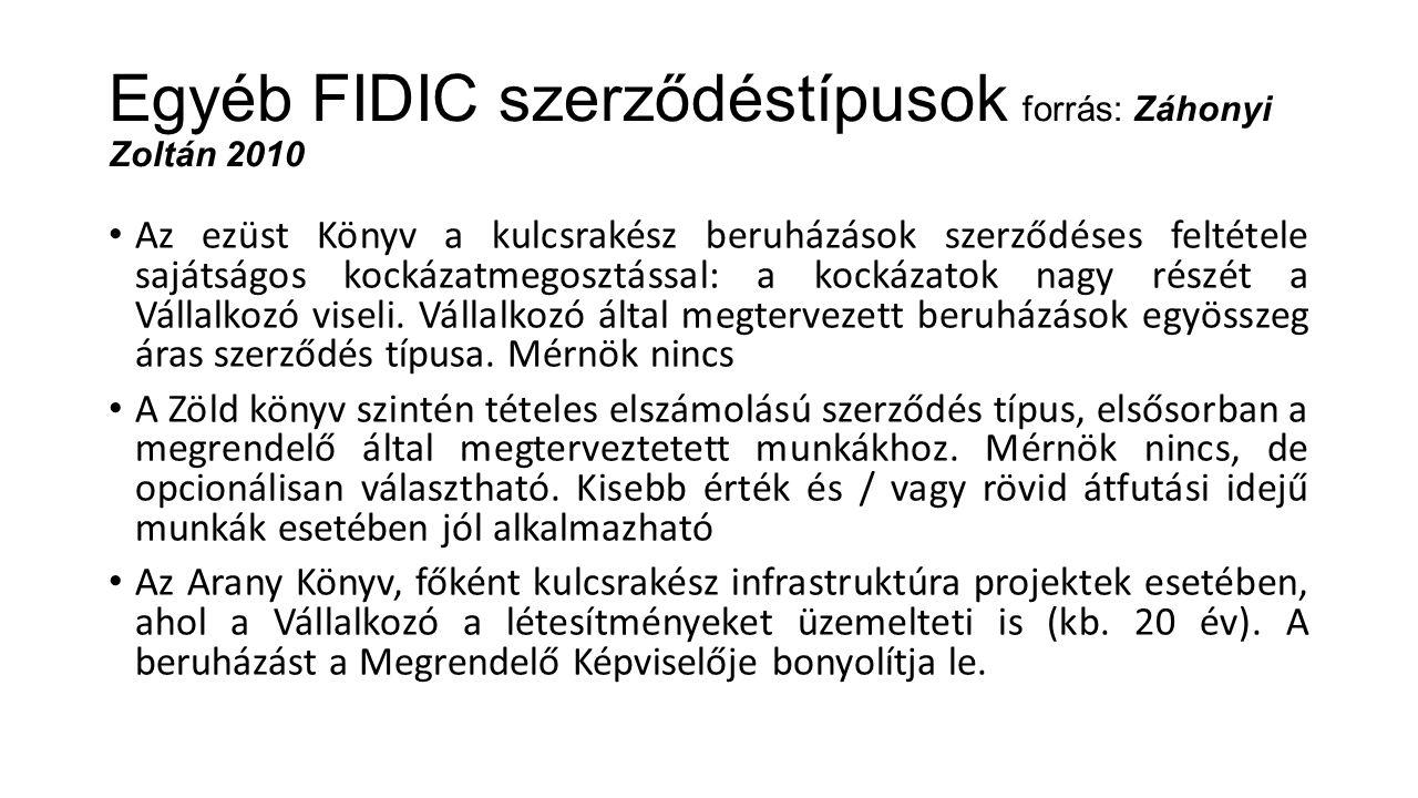 Egyéb FIDIC szerződéstípusok forrás: Záhonyi Zoltán 2010