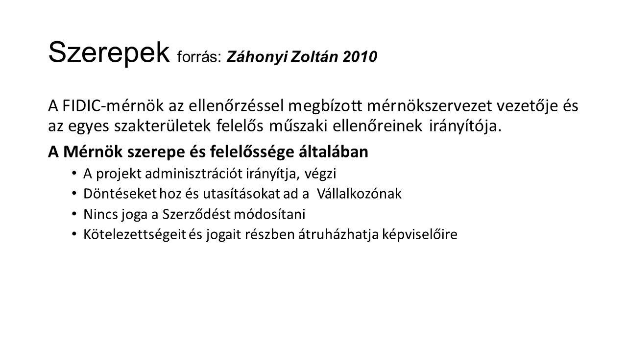 Szerepek forrás: Záhonyi Zoltán 2010