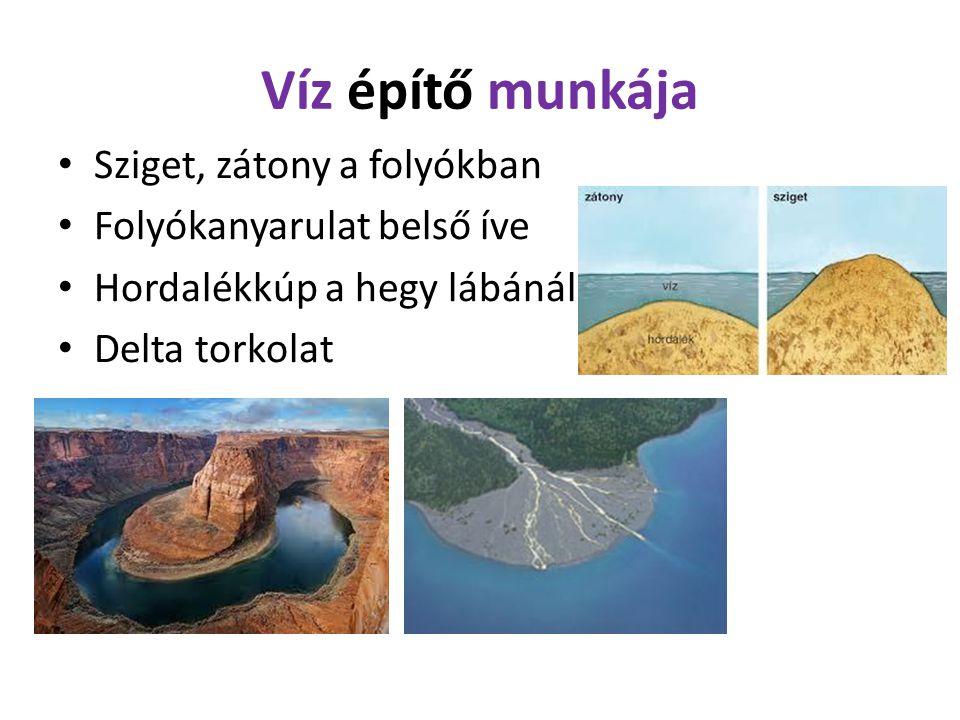 Víz építő munkája Sziget, zátony a folyókban Folyókanyarulat belső íve